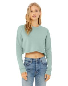 Dusty Blue Ladies' Cropped Fleece Crew