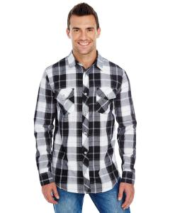White/ Black Men's Long-Sleeve Plaid Pattern Woven Shirt