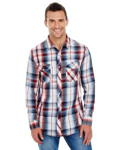 Red Men's Long-Sleeve Plaid Pattern Woven Shirt