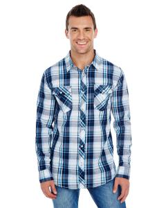 Navy Men's Long-Sleeve Plaid Pattern Woven Shirt