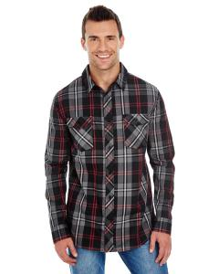 Red/ Black Men's Long-Sleeve Plaid Pattern Woven Shirt