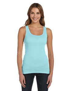 Light Aqua Women's Sheer Mini Rib Tank