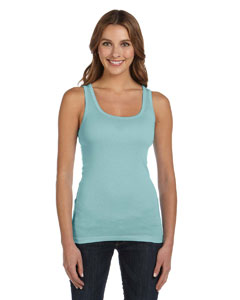Seafoam Blue Women's Sheer Mini Rib Tank