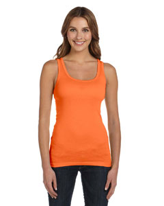Orange Sorbet Women's Sheer Mini Rib Tank