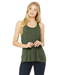 Military Green Women's Flowy Racerback Tank