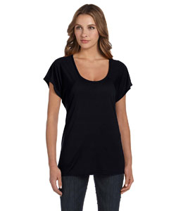 Black Ladies' Flowy Raglan T-Shirt