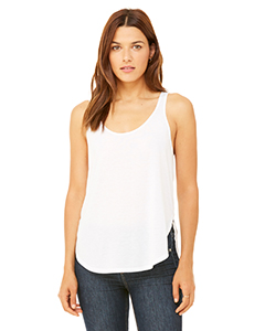 White Ladies Flowy Side Slit Tank