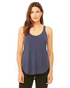Heather Navy Ladies Flowy Side Slit Tank
