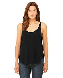 Black Ladies Flowy Side Slit Tank