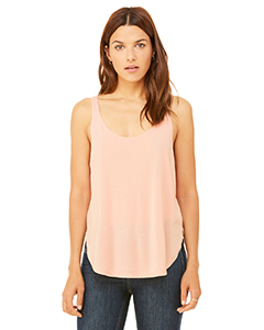 Peach Ladies Flowy Side Slit Tank