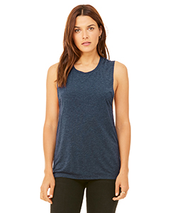 Heather Navy Ladies' Flowy Scoop Muscle Tank