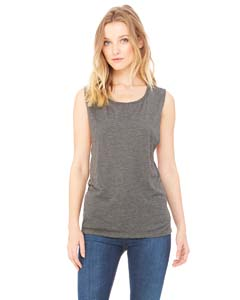 Dark Gry Heather Ladies' Flowy Scoop Muscle Tank