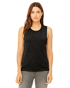 Black Heather Ladies' Flowy Scoop Muscle Tank