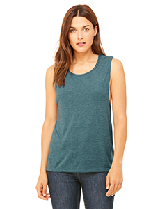 Hthr Deep Teal Ladies' Flowy Scoop Muscle Tank