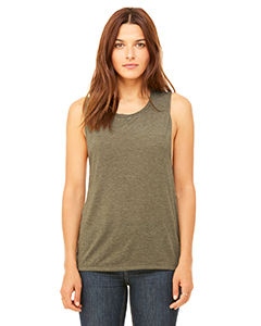 Heather Olive Ladies' Flowy Scoop Muscle Tank