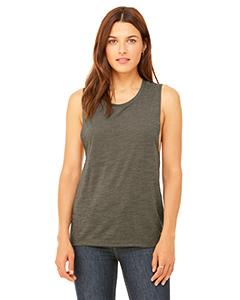Olive Slub Ladies' Flowy Scoop Muscle Tank
