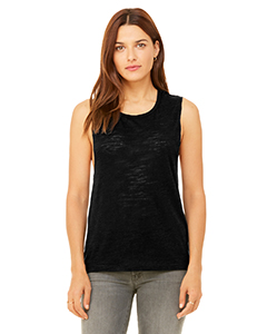 Solid Black Slub Ladies' Flowy Scoop Muscle Tank