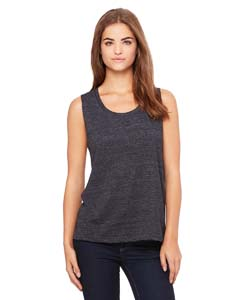 Chrcl Blk Slub Ladies' Flowy Scoop Muscle Tank