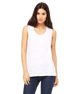 White Slub Ladies' Flowy Scoop Muscle Tank