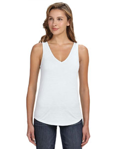 White Women's Flowy V-Neck Tank