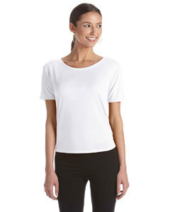 White Women's Flowy Open Back T-Shirt