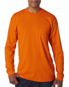 Bright Orange Adult Long-Sleeve T-Shirt with Pocket