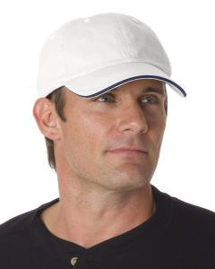 White/ Navy 100 Washed Cotton Unstructured Sandwich Cap