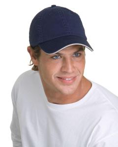 Navy/ White 100 Washed Cotton Unstructured Sandwich Cap