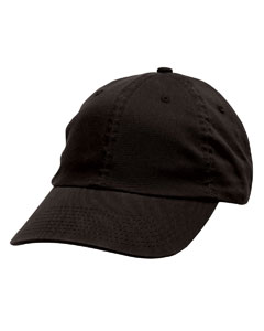 Black Unstructured Washed Twill Cap