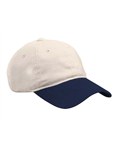 Stone/navy Heavy Brushed Twill Unstructured Cap