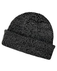 Black/ Gray Ribbed Marled Beanie