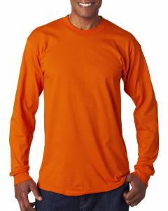 Bright Orange Adult 6.1 oz., 100 Cotton Long Sleeve T-Shirt