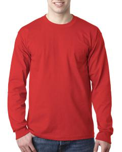 Red Adult 6.1 oz., 100% Cotton Long Sleeve Pocket T-Shirt