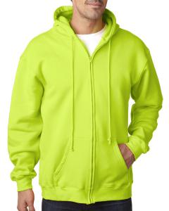Lime Green Adult Full Zip Hooded Sweatshirt