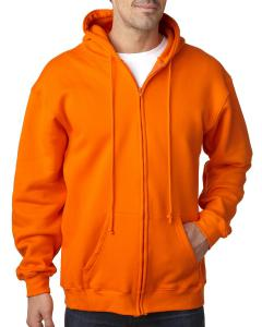 Bright Orange Adult Full Zip Hooded Sweatshirt