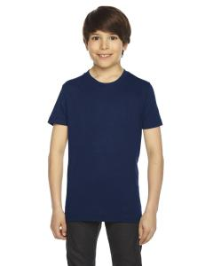 Navy Youth Poly-Cotton Short-Sleeve Crewneck