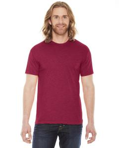 Heather Red Unisex Poly-Cotton Short-Sleeve Crewneck