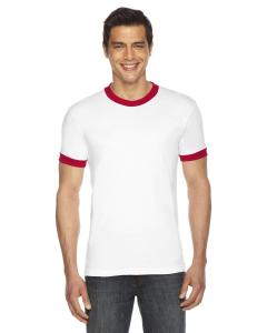 White/ Red UNISEX Poly-Cotton Short-Sleeve Ringer T-Shirt