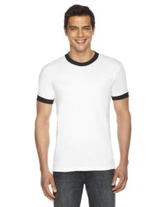 White/ Black UNISEX Poly-Cotton Short-Sleeve Ringer T-Shirt