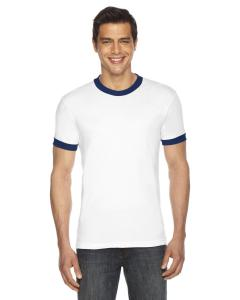 White/ Navy UNISEX Poly-Cotton Short-Sleeve Ringer T-Shirt