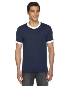 Navy/ White UNISEX Poly-Cotton Short-Sleeve Ringer T-Shirt