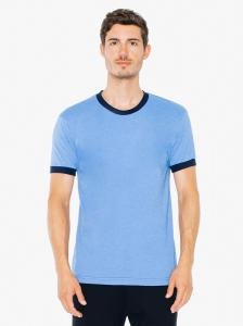 Hth Lk Blue/ Nvy UNISEX Poly-Cotton Short-Sleeve Ringer T-Shirt
