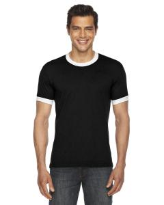 Black/ White UNISEX Poly-Cotton Short-Sleeve Ringer T-Shirt