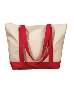 Natural/red 12 oz. Canvas Boat Tote