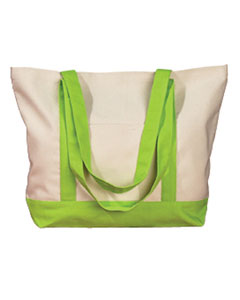 Natural/lime 12 oz. Canvas Boat Tote