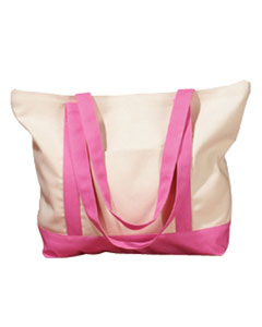 Natural/pink 12 oz. Canvas Boat Tote