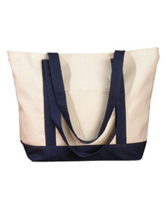 Natural/navy 12 oz. Canvas Boat Tote