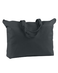Black 12 oz. Canvas Zippered Book Tote
