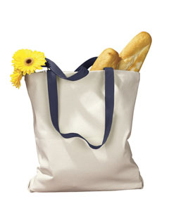 Natural/navy 12 oz. Canvas Tote with Contrasting Handles