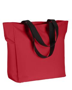 Red Polyester Zip Tote